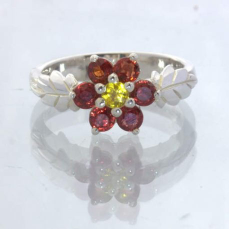 Red Yellow Sapphire Flower Silver Ring size 7.25 Leaf Floral Stacking Design 537