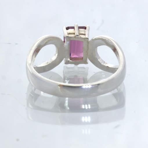 Raspberry Rhodolite Garnet Rectangle Silver Ladies Ajoure Ring size 5 Design 532