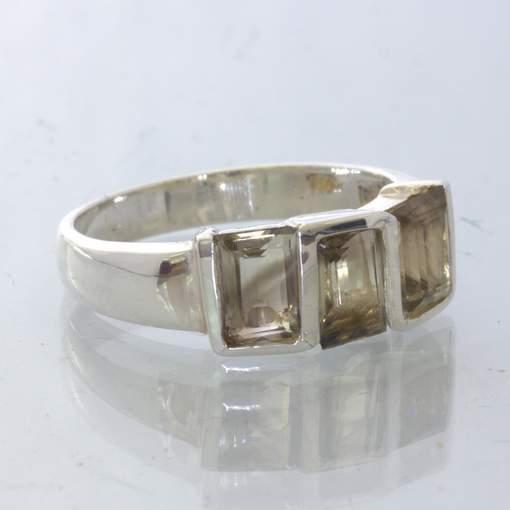 Burma Smoky Quartz Sterling Unisex Geometric Ring size 9 Rectangle Design 309
