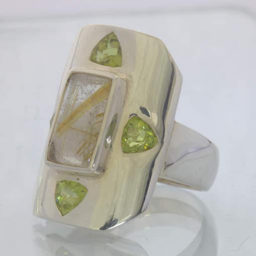 Golden Rutile Quartz Trillion Peridot Silver Ring size 10.5 Shield Design 164