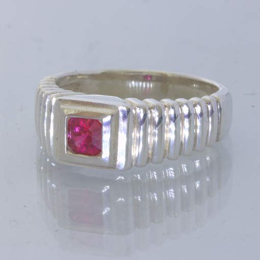 Red Burmese Spinel Square Gemstone 925 Silver Ring size 6.5 Stair Step Design 33