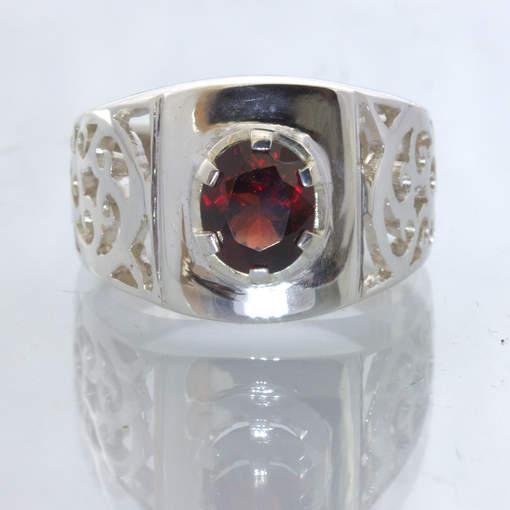 Red Spinel Burma Oval Gem 925 Silver Filigree Ajoure Ring size 9.25 Design 113