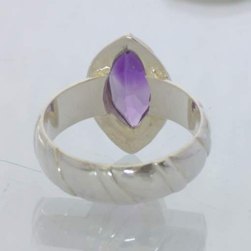 Purple Burma Amethyst Marquise Gem Sterling Ring size 7.75 Solitaire Design 388