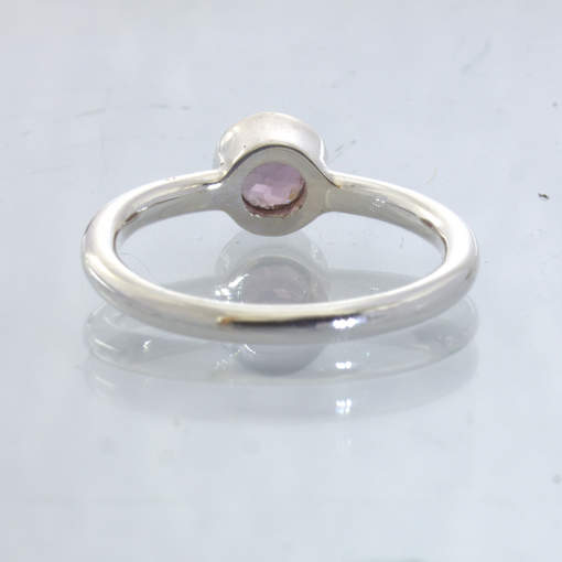 Pink Purple Burma Spinel Silver Stackable Solitaire Ring size 7.25 Design 530