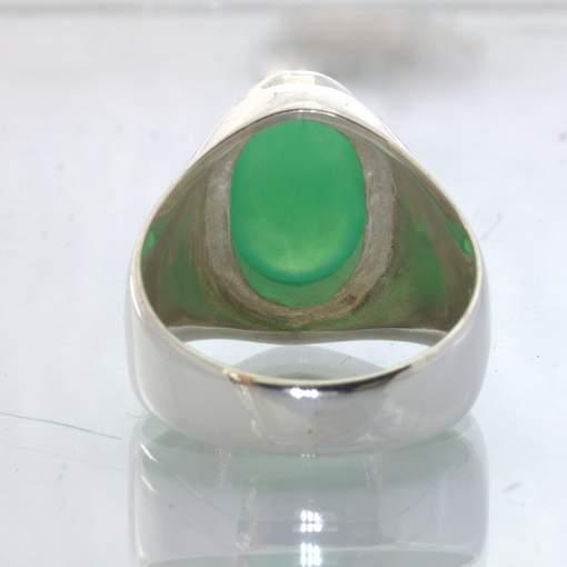 Australia Chrysoprase Blue Green Oval 925 Silver Gents Ring size 12 Design 52