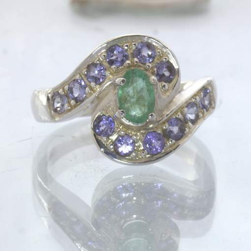 Green Emerald Blue Tanzanite Accents 925 Silver Ring size 8.25 Swirl Design 21