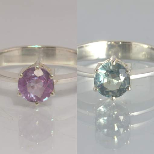 Color Change Blue Pink Sapphire Silver Stacking Ring size 8 Stackable Design 432