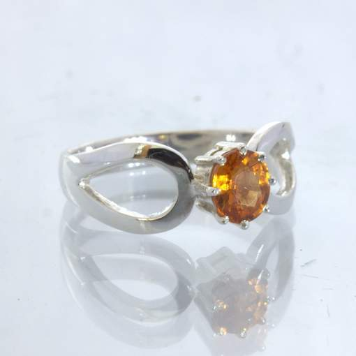 Fanta Orange Spessartite Garnet 925 Silver Ladies Ring size 7 Ajoure Design 532