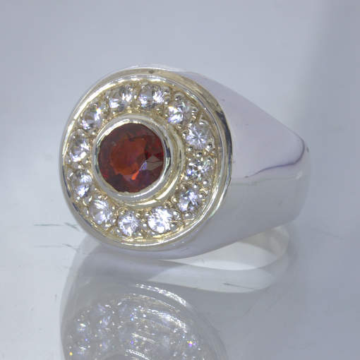 Red Burma Spinel White Ceylon Sapphire Halo 925 Silver Ring size 8.75 Design 150