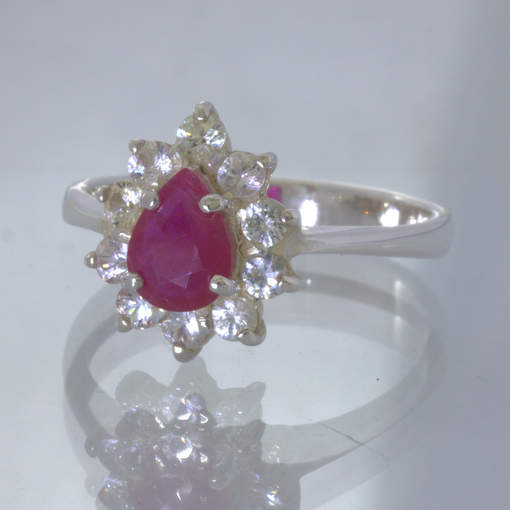 Red Natural Ruby Pear White Sapphire Halo 925 Silver Ring size 8.75 Design 415