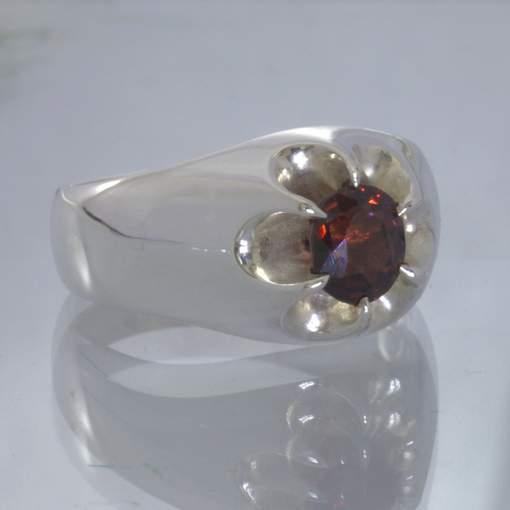 Red Purple Burma Spinel 925 Silver Ring Size 10 Floral Volcano Style Design 159