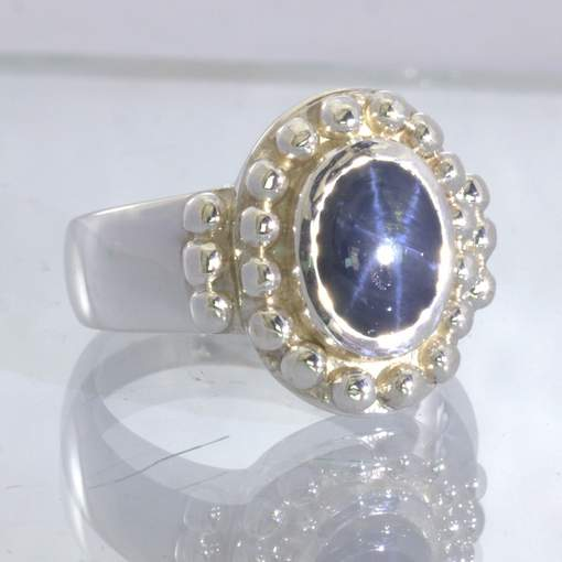 Dark Blue Floating Star Sapphire Oval 925 Silver Gents Ring Size 11 Design 119