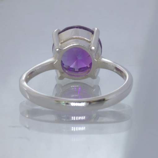 Purple Burma Amethyst 10 mm Round 925 Silver Ring size 8.5 Solitaire Design 121