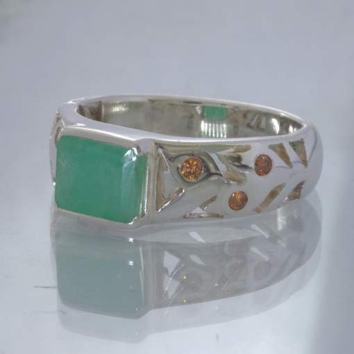 Green Emerald Square Orange Zircon Round Silver Ring size 9 Floral Design 89