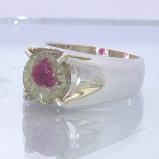 Watermelon Tourmaline Flower Carving 925 Silver Ring Size 9.25 Unisex Design 423