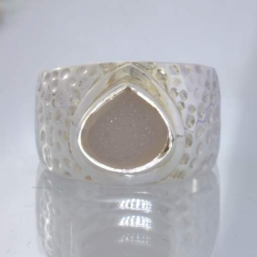 White Druzy Quartz Pear Hand Hammered Sterling Silver Ring size 10 Design 163
