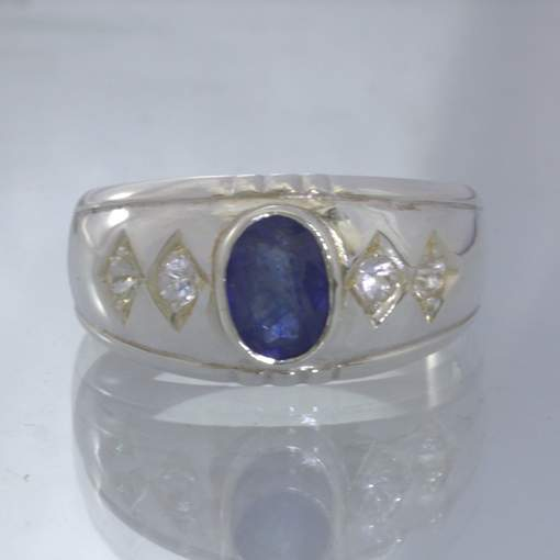 Blue Oval Sapphire White Sapphire Rounds 925 Silver Ring size 8 Wide Design 357