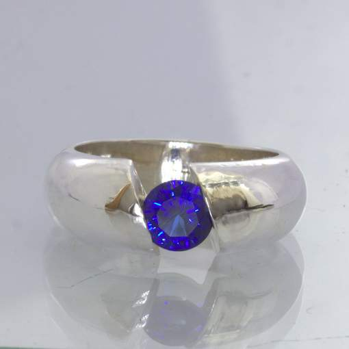 Lab Blue Sapphire Round Sterling Ring Size 7 Unisex Solitaire Tension Design 343