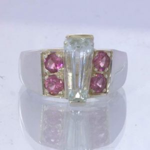 Light Blue Aquamarine Keystone Pink Spinel 925 Silver Ring Size 9.25 Design 319