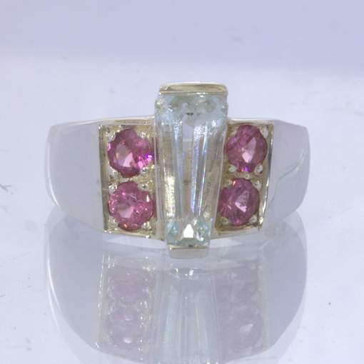 Light Blue Aquamarine Keystone Pink Spinel 925 Silver Ring Size 9.25 Design 319