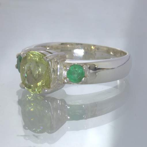 Yellow Helidor Oval Green Emerald Namibia Beryl 925 Silver Ring size 9 Design 49