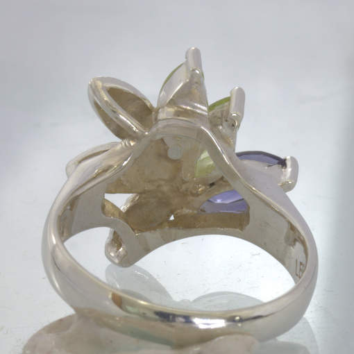 Blue Iolite Green Peridot Sterling Leaf Floral Ring size 7.25 Flower Design 200