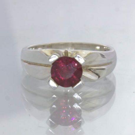 Red Purple Rhodolite Garnet Round 925 Silver Ring Size 5.25 Solitaire Design 192