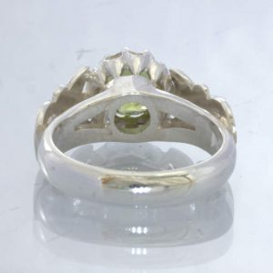 Peridot Round Green Gem 925 Silver Ladies Ring Size 6.25 Angel Flower Design 34