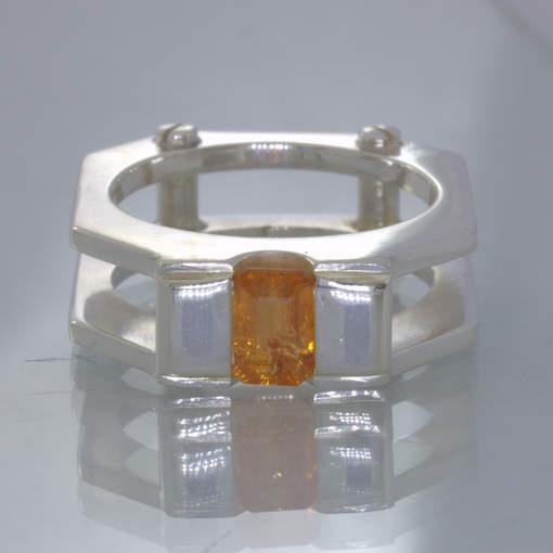 Fanta Orange Spessartite Garnet Sterling Ring size 9 Mechanical Screw Design 397