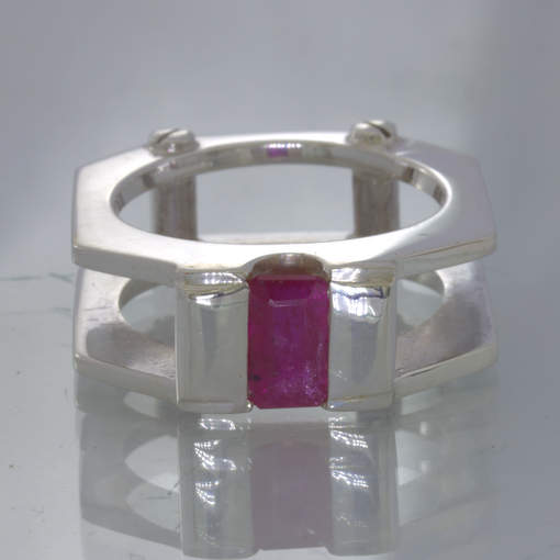 Ruby Rectangle Solitaire Size 7.25 Sterling 925 Ring Mechanical Screw Design 357