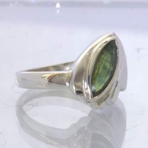 Green Blue Party Sapphire 925 Silver Unisex Ring size 8.75 Cascading Design 195