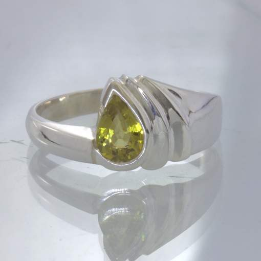 Yellow Mali Garnet Pear Sterling Silver Ring size 9.5 Unisex Cascade Design 38
