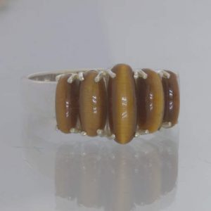 Brown Tigers Eye 5 Graduated Oval Cabochons Sterling Ring Size 10.25 Design 414