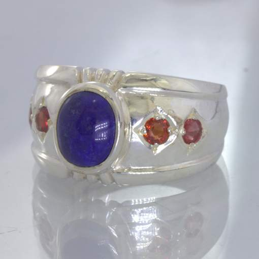 Blue Lapis Lazuli Oval Red Round Sapphire 925 Ring size 11.25 Wide Design 357
