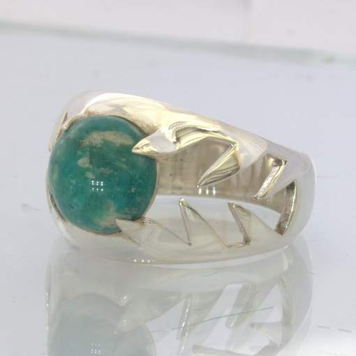 Amazonite Teal Cabochon 925 Silver Ring size 9.75 Unisex Teeth Claws Design 509