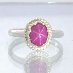 Lab Ruby Pink Sapphire Diffused Star 925 Silver Ladies Ring Size 8.25 Design 347