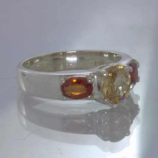Yellow Zircon Oval Red Sapphire Sterling Ladies Ring size 9.75 3 Stone Design 49