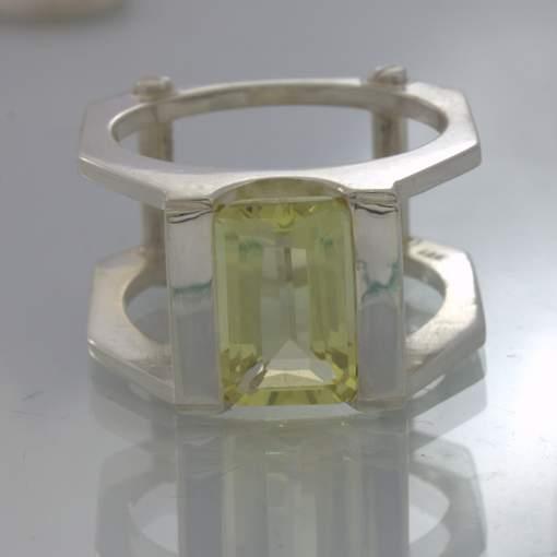 Yellow Burma Citrine 925 Silver Mechanical Style Ring size 12.5 Screw Design 397
