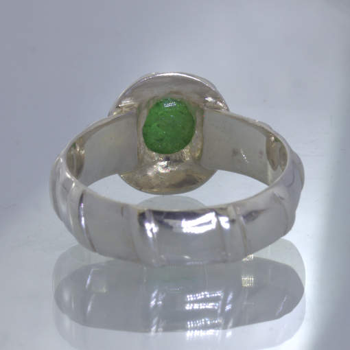 Green Chrome Tourmaline Round Cab 925 Silver Ring size 7.25 Solitaire Design 389