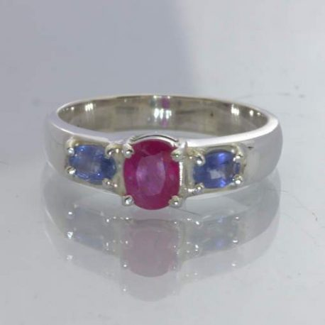 Red Natural Ruby Oval Blue Sapphire 925 Silver Ladies Ring size 8.5 Design 49