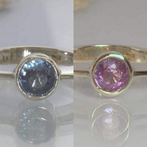 Color Change Pink Blue Lab Sapphire Silver Solitaire Ring size 8.5 Design 344