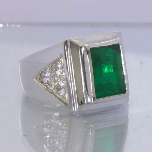 Emerald Simulated Doublet Topaz Accents 925 Silver Ring Size 11.75 Design 145