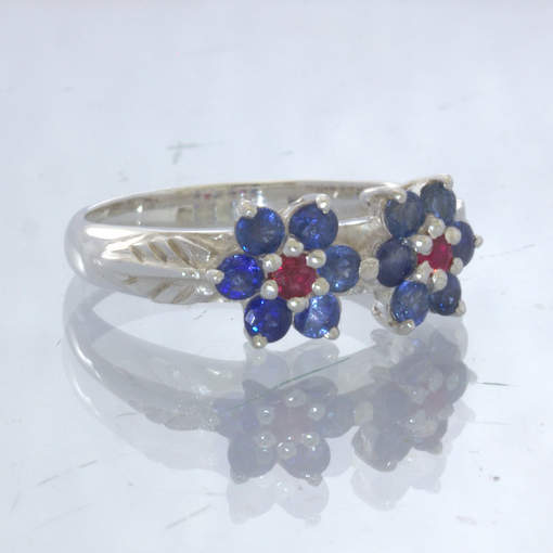Blue Red Sapphire Flower 925 Silver Ladies Ring Size 7.25 Floral Leaf Design 393