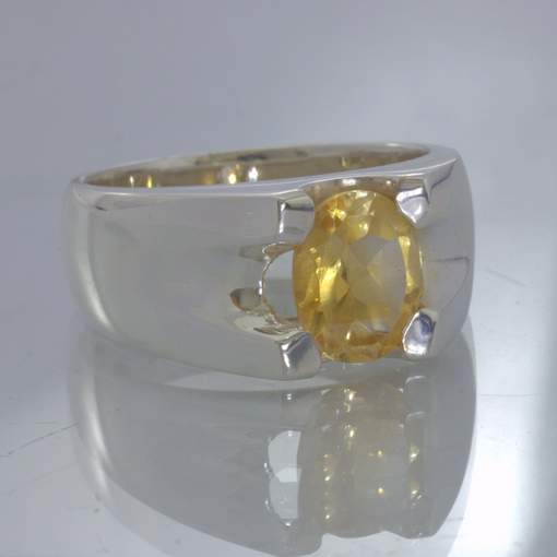 Yellow Burma Citrine Oval Solitaire Sterling Silver Ring size 10.25 Design 318