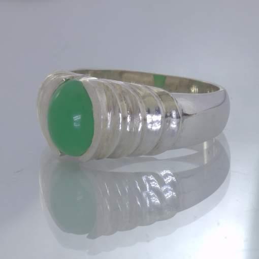 Green Australian Chrysoprase Oval Cabochon 925 Silver Ring size 10.5 Design 27