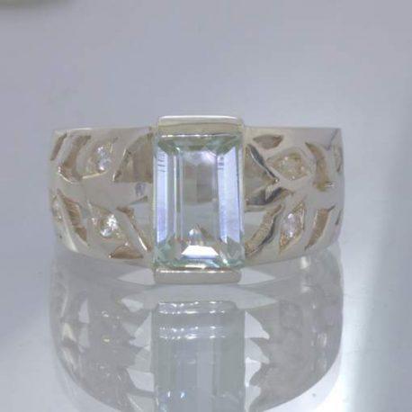 Unheated Cambodia Aquamarine White Sapphire 925 Silver Ring size 11.25 Design 89
