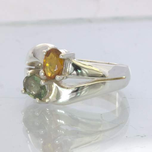 Green Yellow Sapphire Two Oval Gems 925 Silver Unisex Ring size 7.25 Design 88