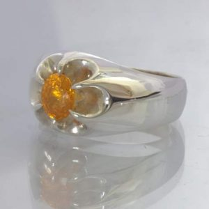 Fanta Orange Spessartite Garnet Sterling Ring size 11 Floral Volcano Design 159