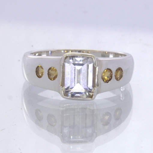 White Topaz Rectangle Yellow Citrine Rounds 925 Silver Ring size 9 Design 660