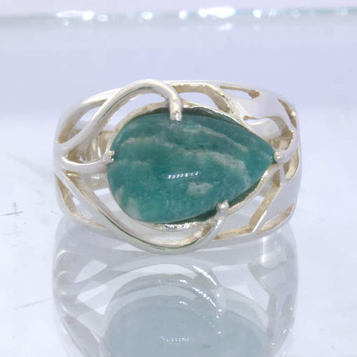 Blue Green Amazonite Pear 925 Silver Ring Size 9.5 Branches Leaves Design 395